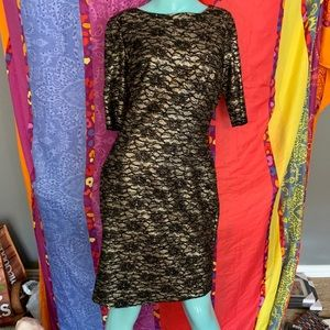 Eliza J Formal Cocktail Holiday Dress Gold Lace 10